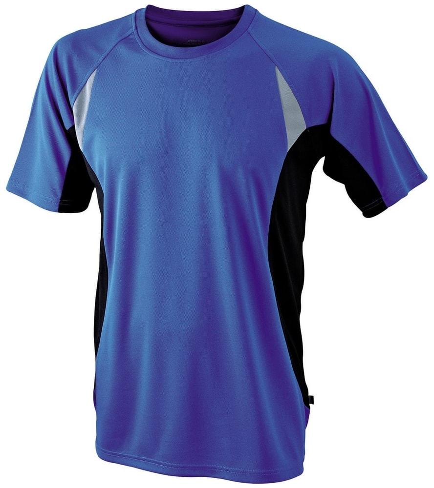 James & Nicholson Pánske funkčné tričko s krátkym rukávom JN391 - Královská modrá / černá | XL
