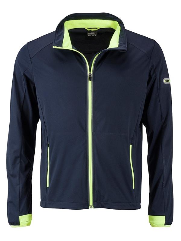 James & Nicholson Pánska športová softshellová bunda JN1126 - Tmavě modrá / jasně žlutá   L