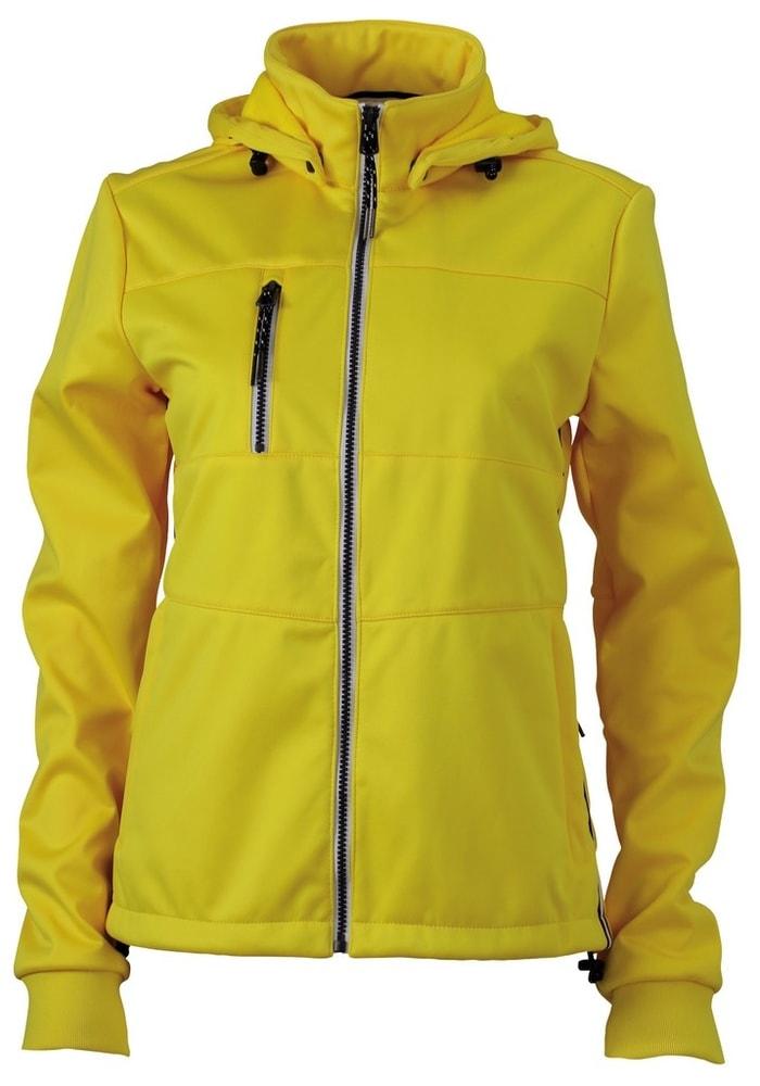 James & Nicholson Dámska športová softshellová bunda JN1077 - Slunečně žlutá / tmavě modrá / bílá   L