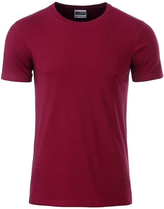 James & Nicholson Klasické pánske tričko z biobavlny 8008 - Vínová | XXL