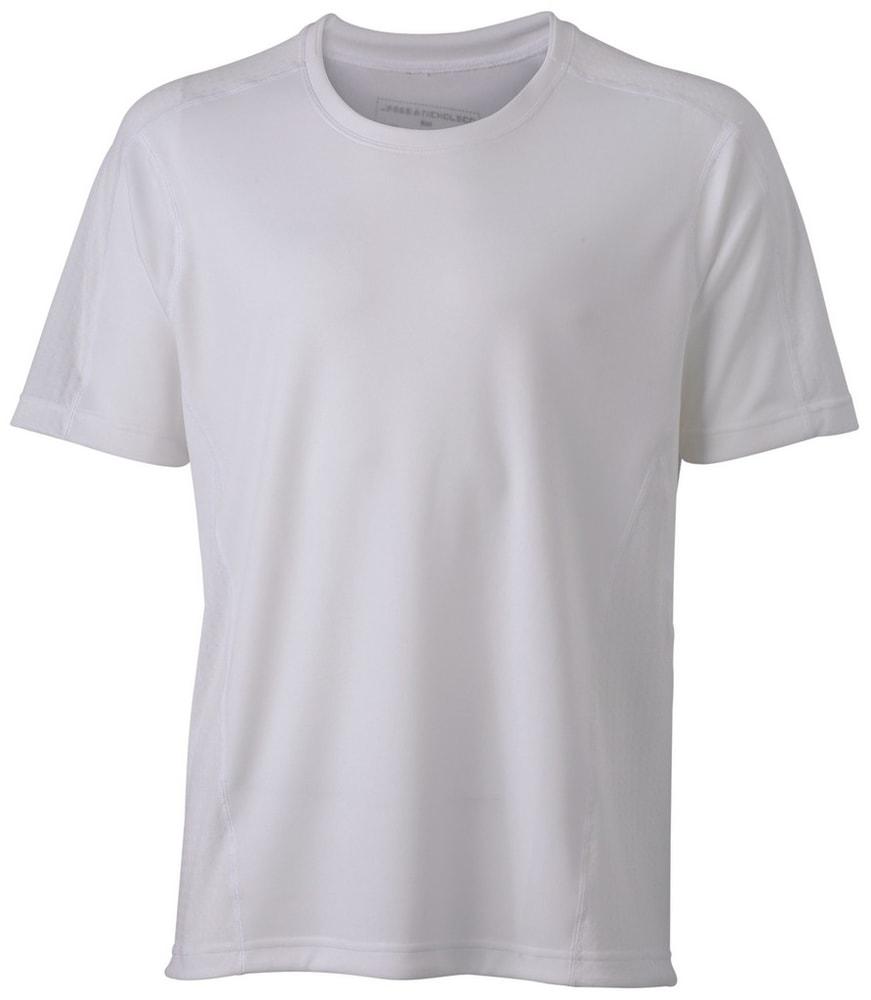 James & Nicholson Pánske bežecké tričko JN472 - Bílá / bílá | XL