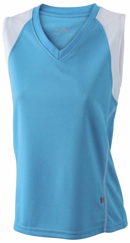 James & Nicholson Dámske bežecké tričko bez rukávov JN394 - Tyrkysová / bílá | XXL