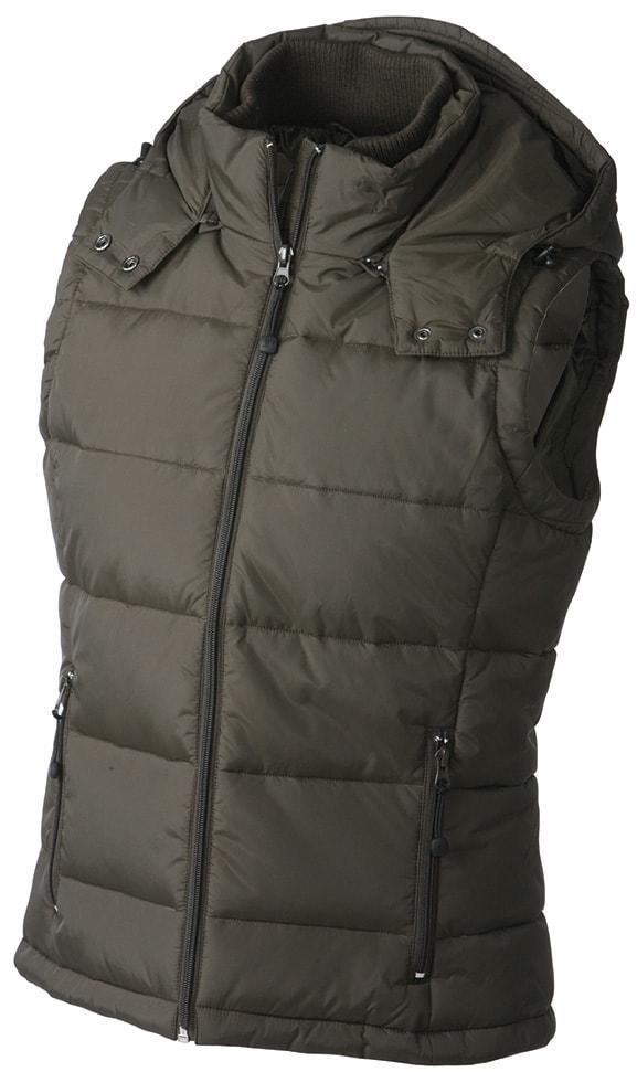 James & Nicholson Dámska zimná vesta s kapucňou JN1005 - Hnědá | L