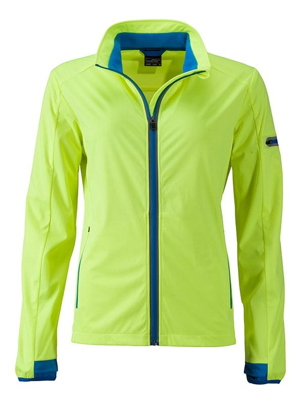 James & Nicholson Dámska športová softshellová bunda JN1125 - Jasně žlutá / jasně modrá   L