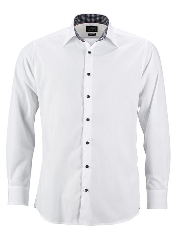 James & Nicholson Pánská bílá košile JN648 - Bílá / titanová / bílá | XL