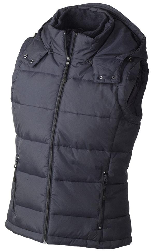 James & Nicholson Dámská zimní vesta s kapucí JN1005 - Tmavě modrá | M