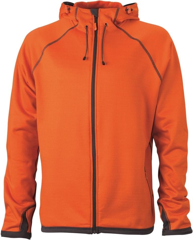 James & Nicholson Pánska športová mikina na zips JN571 - Tmavě oranžová / tmavě šedá | XXXL