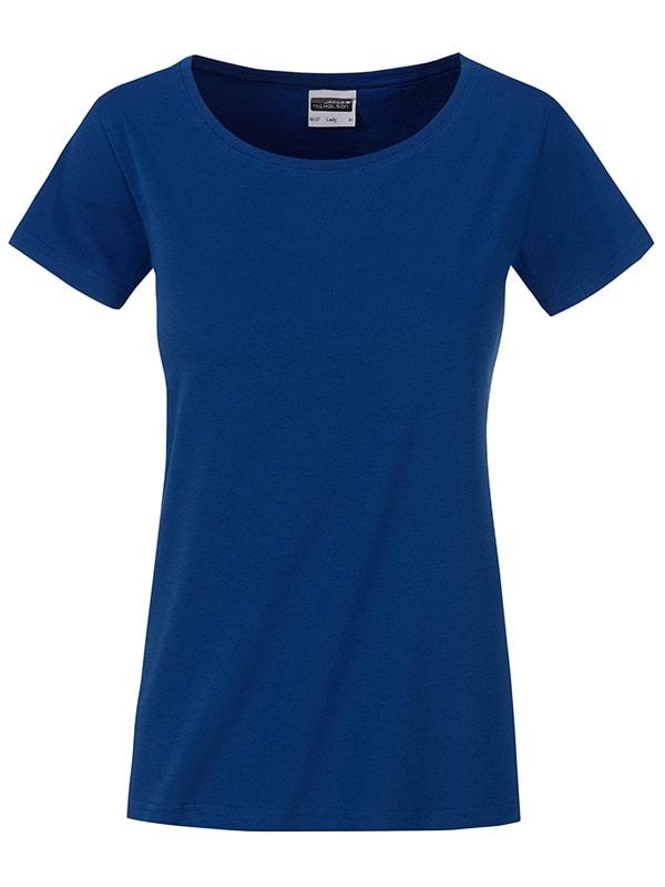 James & Nicholson Klasické dámske tričko z biobavlny 8007 - Tmavá královská modrá | XL