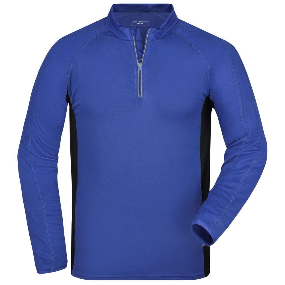 James & Nicholson Pánske športové tričko s dlhým rukávom JN307 - Královská modrá / černá | XL