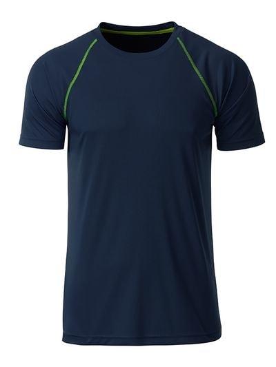 James & Nicholson Pánske funkčné tričko JN496 - Tmavě modrá / jasně žlutá | XL