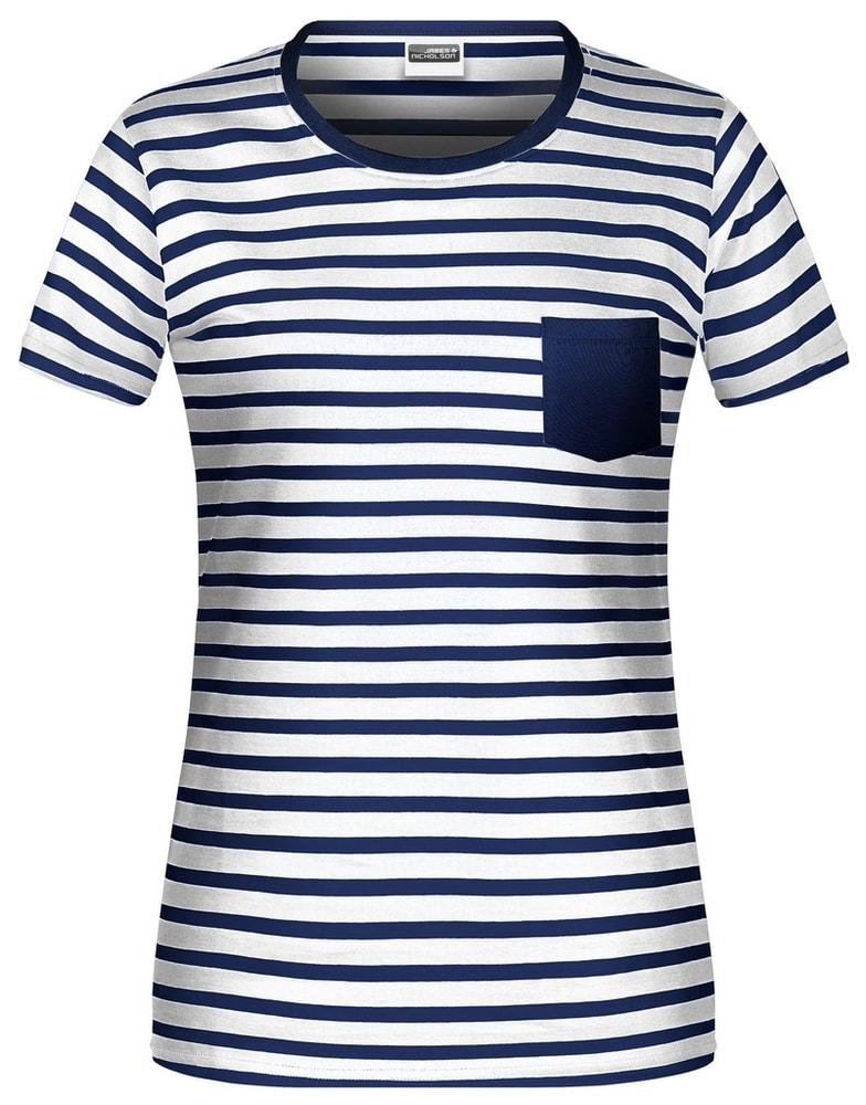 James & Nicholson Dámske pruhované tričko z biobavlny 8027 - Bílá / tmavě modrá | XL
