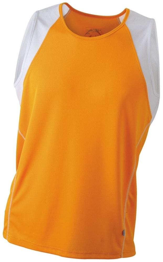 James & Nicholson Pánske bežecké tričko bez rukávov JN395 - Oranžová / bílá | M