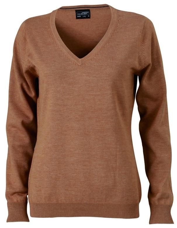 James & Nicholson Dámský bavlněný svetr JN658 - Camel | S