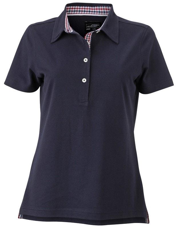 James & Nicholson Elegantná dámska polokošeľa JN969 - Tmavě modrá / červená / tmavě modrá / bílá | XL