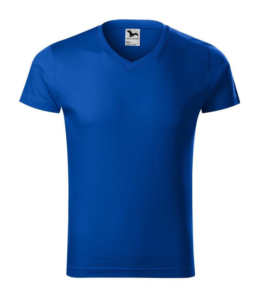 Adler Pánske tričko Slim Fit V-neck - Královská modrá | XXXL