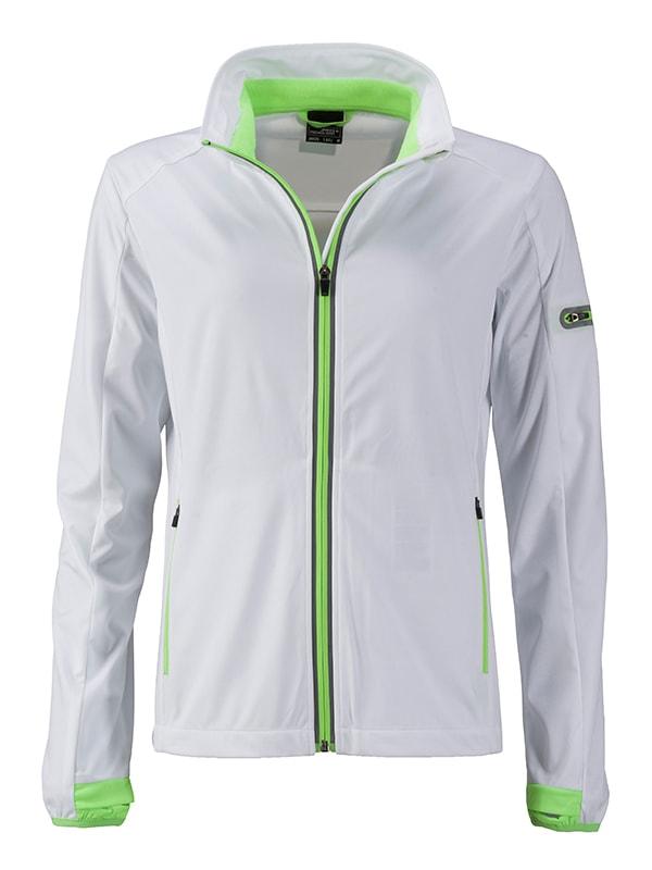 James & Nicholson Dámska športová softshellová bunda JN1125 - Bílá / jasně zelená   M
