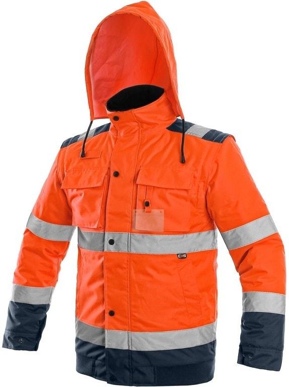 Canis Reflexná bunda 2v1 LUTON - Oranžová / tmavě modrá | XXL