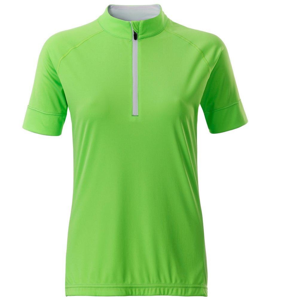 James & Nicholson Dámský cyklistický dres s krátkým zipem JN513 - Jasně zelená / bílá   XL