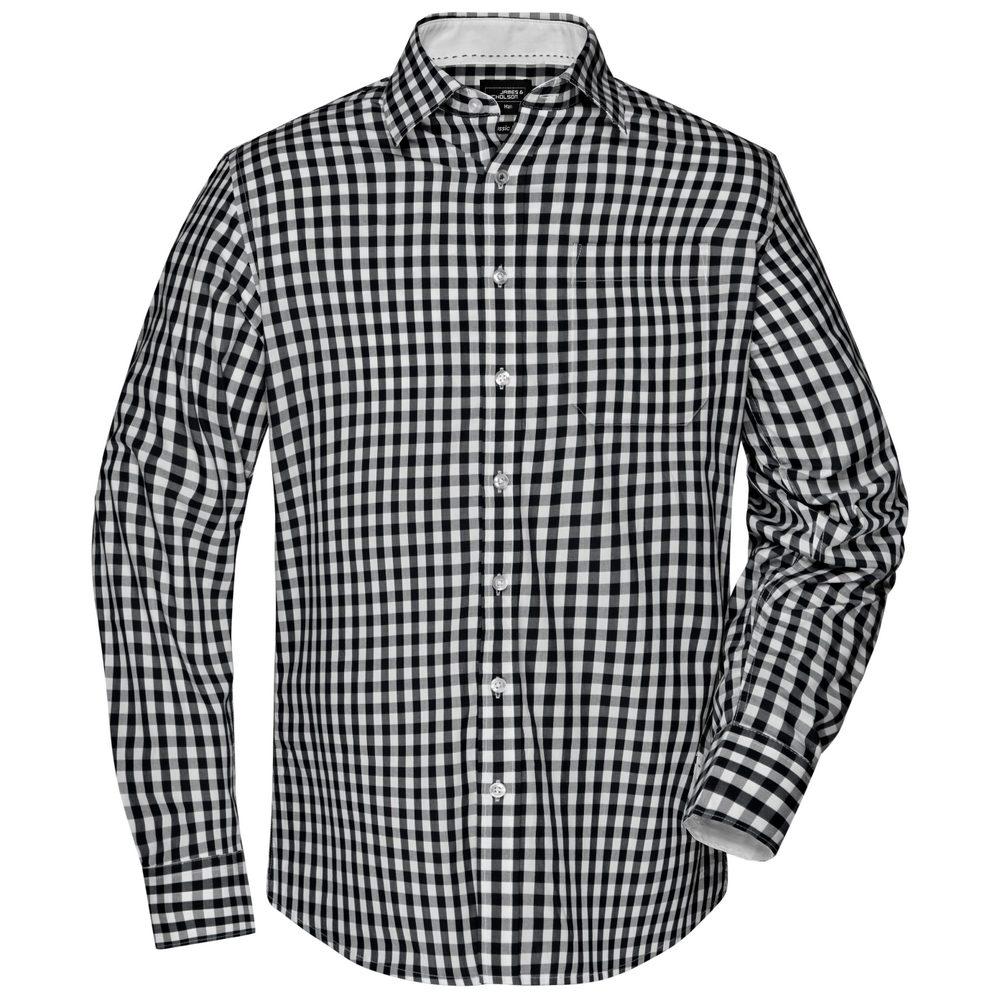 James & Nicholson Pánská kostkovaná košile JN617 - Černá / bílá   L