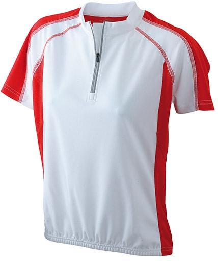 James & Nicholson Dámske cyklistické tričko JN419 - Bílá / červená | M