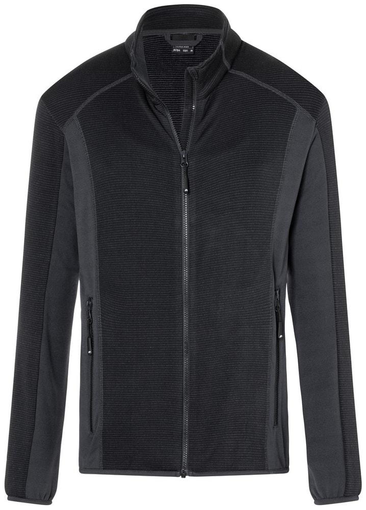 James & Nicholson Pánska strečová fleecová mikina JN784 - Černá / tmavě šedá | S