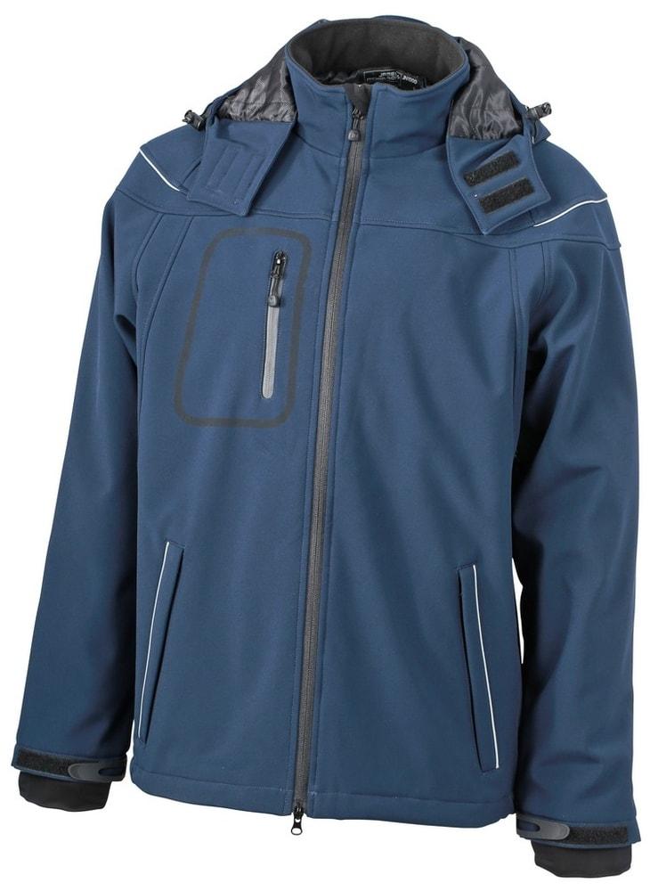 James & Nicholson Zimná pánska softshellová bunda JN1000 - Tmavě modrá | S