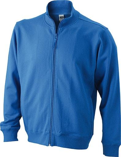James & Nicholson Pánska mikina na zips bez kapucne JN058 - Královská modrá | XXXL