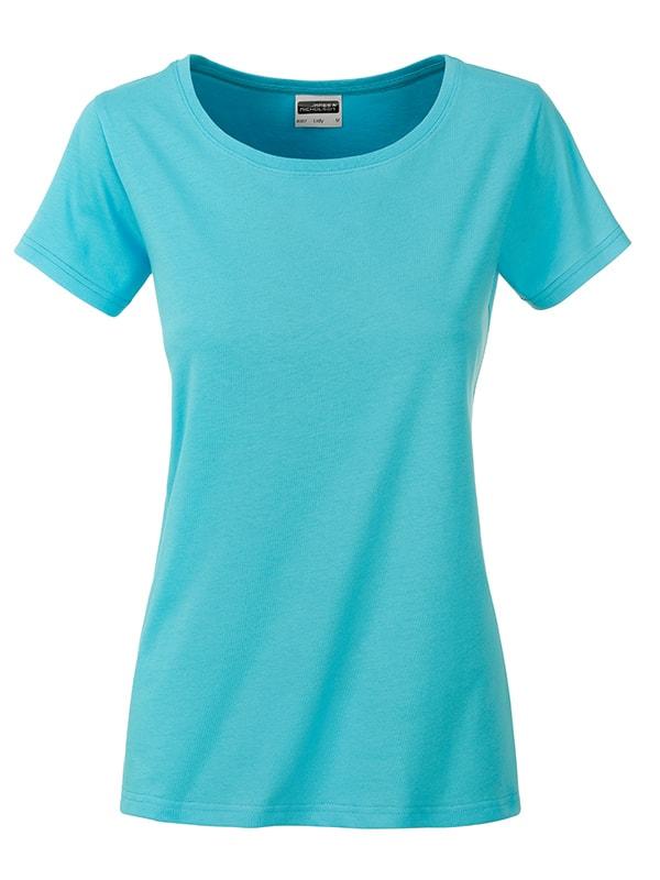 James & Nicholson Klasické dámske tričko z biobavlny 8007 - Pacific | XL