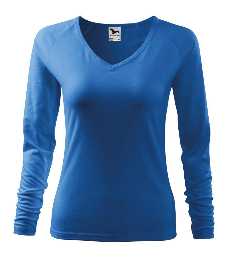 Adler (MALFINI) Dámské tričko s dlouhým rukávem Elegance - Azurově modrá | XXL