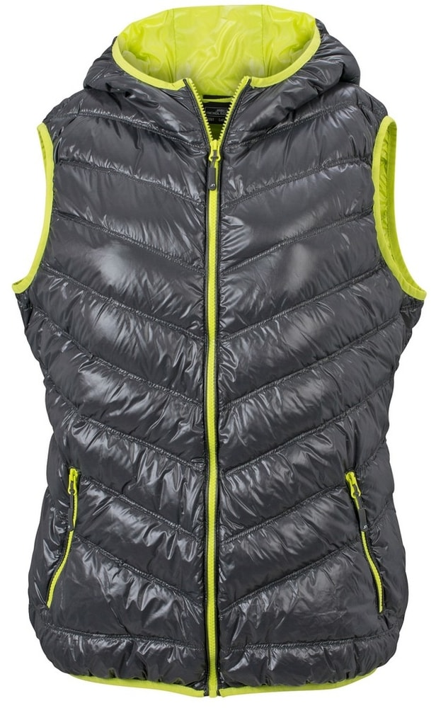 James & Nicholson Ľahká dámska páperová vesta JN1061 - Tmavě šedá / žlutozelená   XXL
