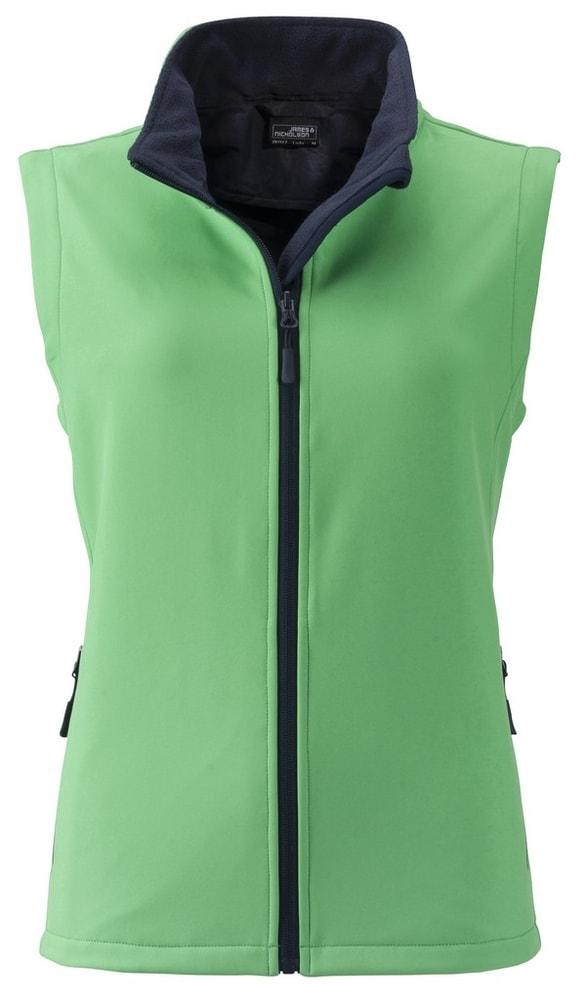 James & Nicholson Dámska softshellová vesta JN1127 - Zelená / tmavě modrá | M