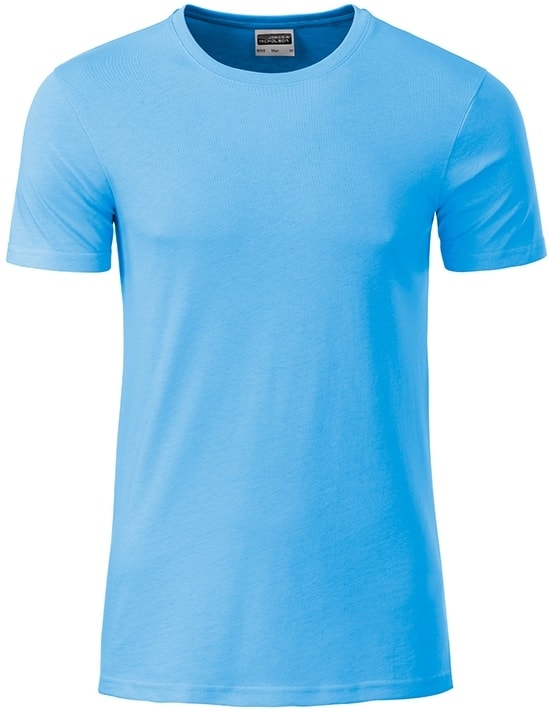 James & Nicholson Klasické pánske tričko z biobavlny 8008 - Nebesky modrá | XXL