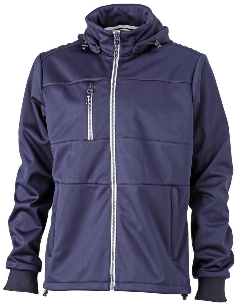 James & Nicholson Pánska športová softshellová bunda JN1078 - Tmavě modrá / tmavě modrá / bílá | S