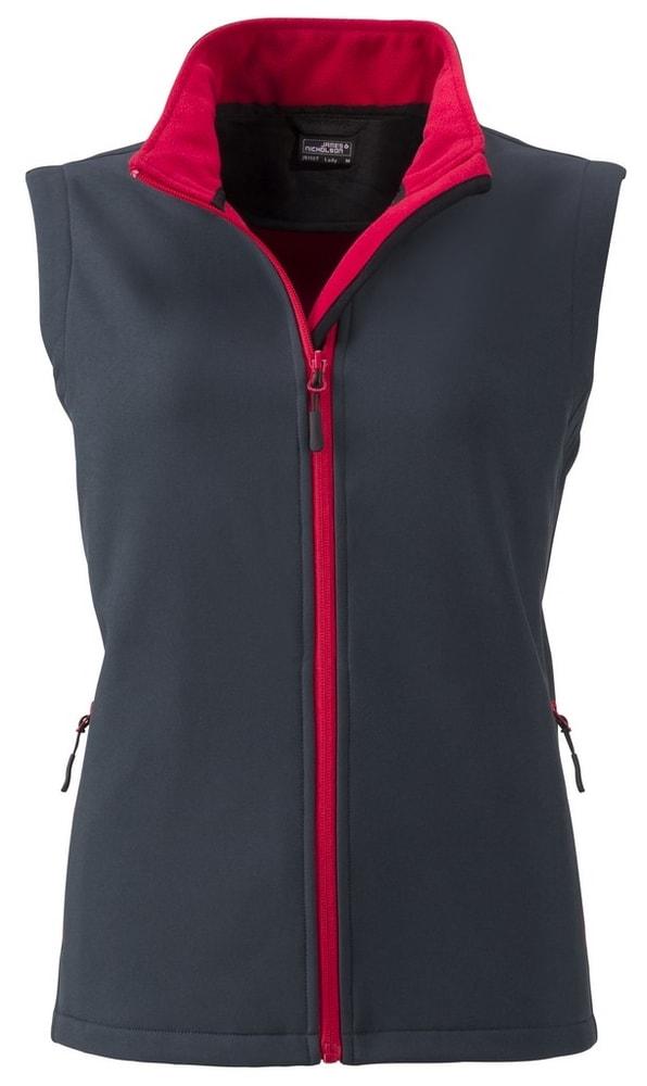 James & Nicholson Dámska softshellová vesta JN1127 - Ocelově šedá / červená | XL
