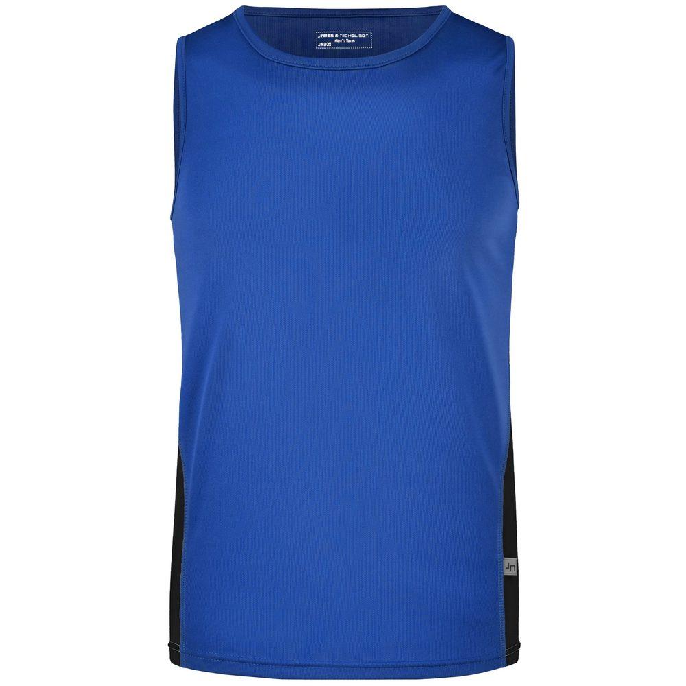 James & Nicholson Pánske športové tričko bez rukávov JN305 - Královská modrá / černá | XL