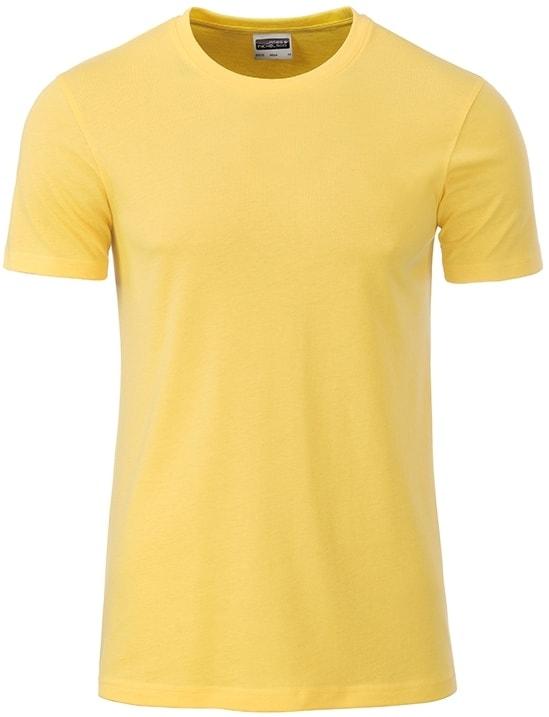 James & Nicholson Klasické pánske tričko z biobavlny 8008 - Světle žlutá | XXL