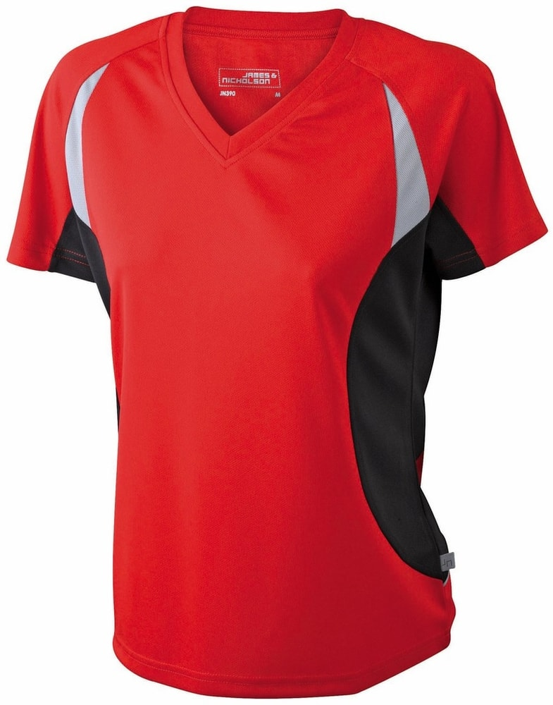 James & Nicholson Dámske funkčné tričko s krátkym rukávom JN390 - Červená / černá | L
