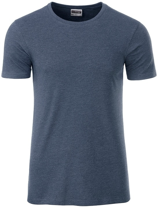 James & Nicholson Klasické pánske tričko z biobavlny 8008 - Světle džínový melír | L