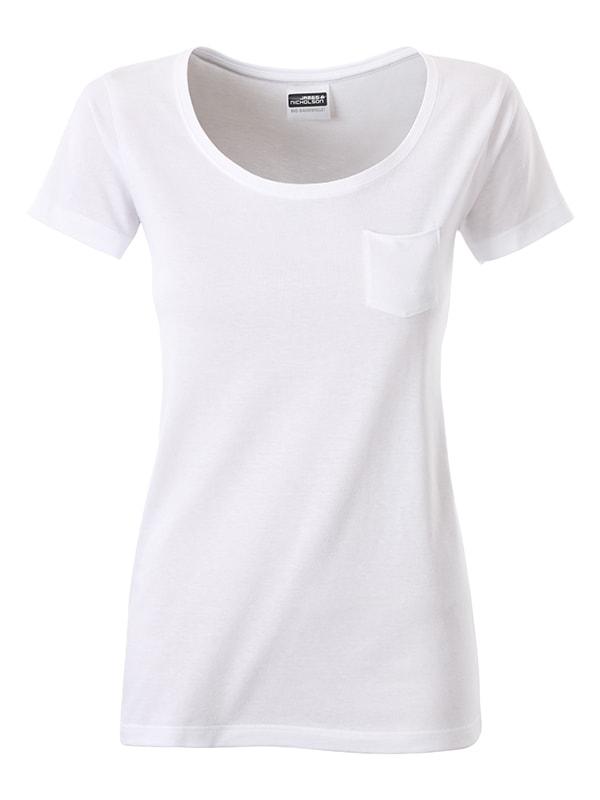 James & Nicholson Dámske tričko z biobavlny 8003 - Bílá | XL