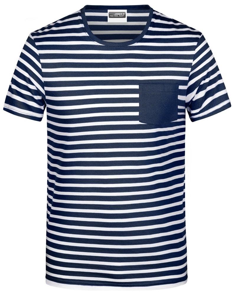 James & Nicholson Pánske pruhované tričko z biobavlny 8028 - Tmavě modrá / bílá | XL