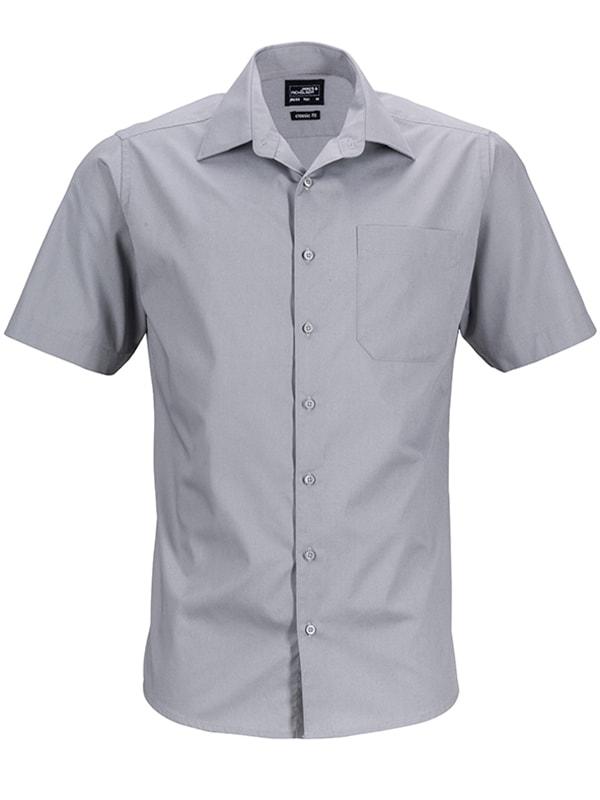 James & Nicholson Pánská košile s krátkým rukávem JN644 - Ocelová   M