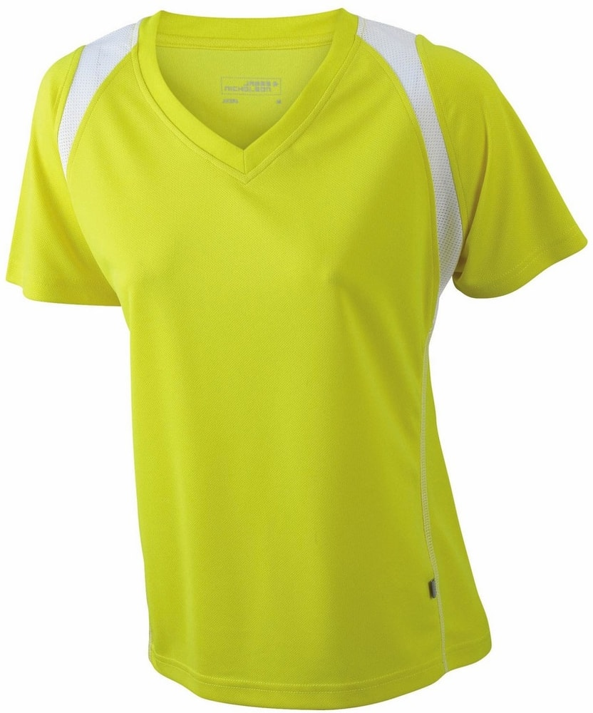 James & Nicholson Dámske bežecké tričko s krátkym rukávom JN396 - Žlutá / bílá | XXL