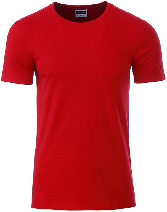 James & Nicholson Klasické pánske tričko z biobavlny 8008 - Červená | XXL