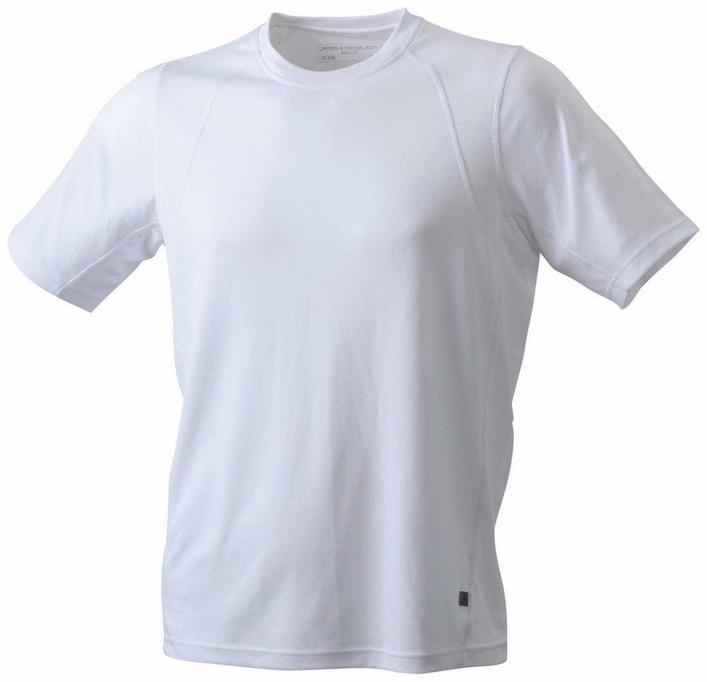 James & Nicholson Pánske športové tričko s krátkym rukávom JN306 - Bílá / bílá | XL