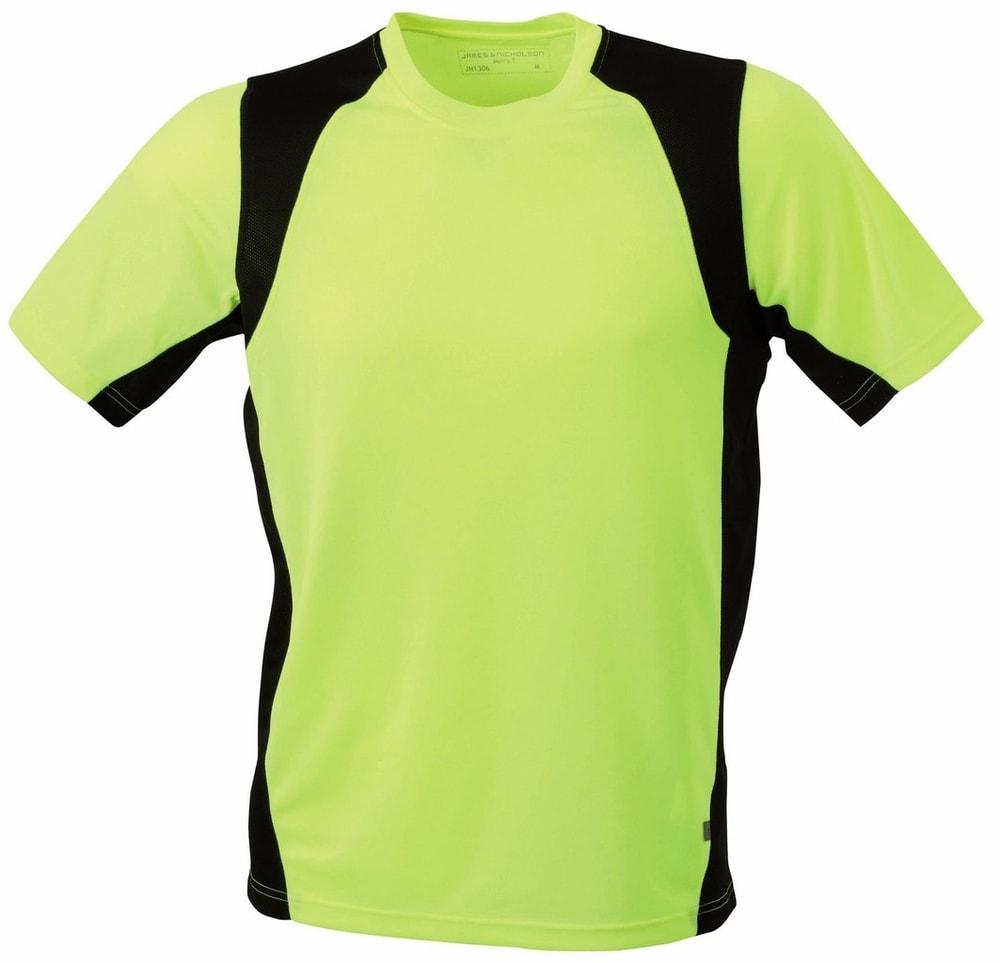 James & Nicholson Pánske športové tričko s krátkym rukávom JN306 - Fluorescenční žlutá / černá | XXL