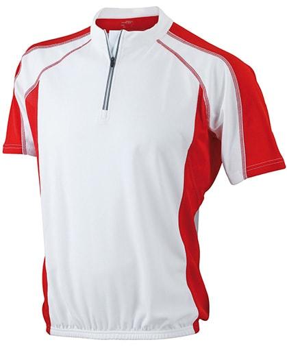 James & Nicholson Pánske cyklistické tričko JN420 - Bílá / červená | XL