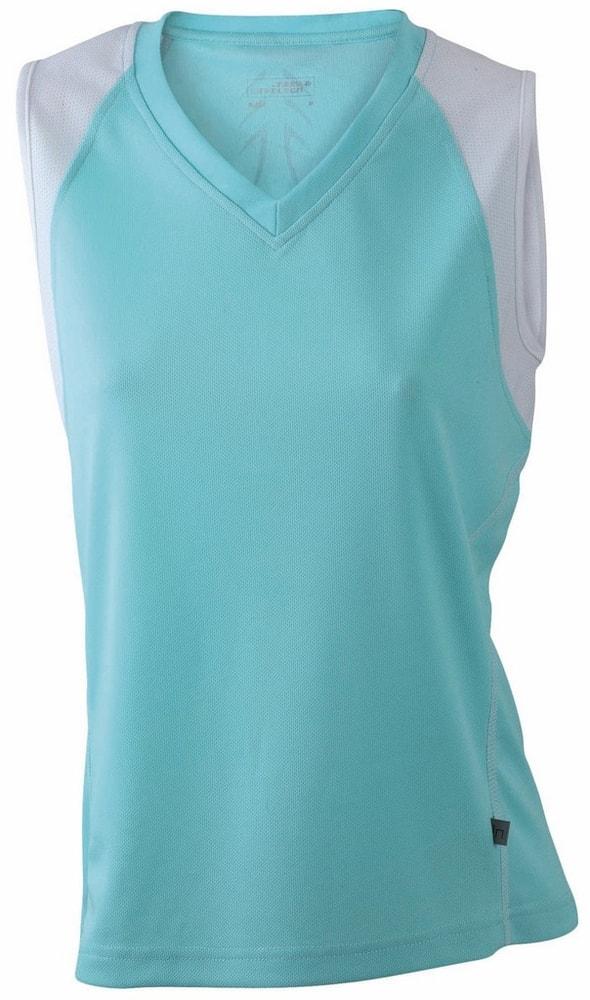 James & Nicholson Dámske bežecké tričko bez rukávov JN394 - Mátová / bílá | XXL