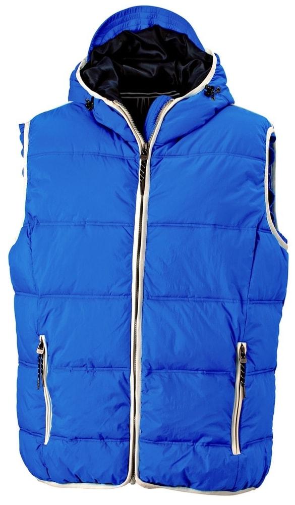 James & Nicholson Pánska vesta s kapucňou JN1076 - Světle modrá / bílá | M