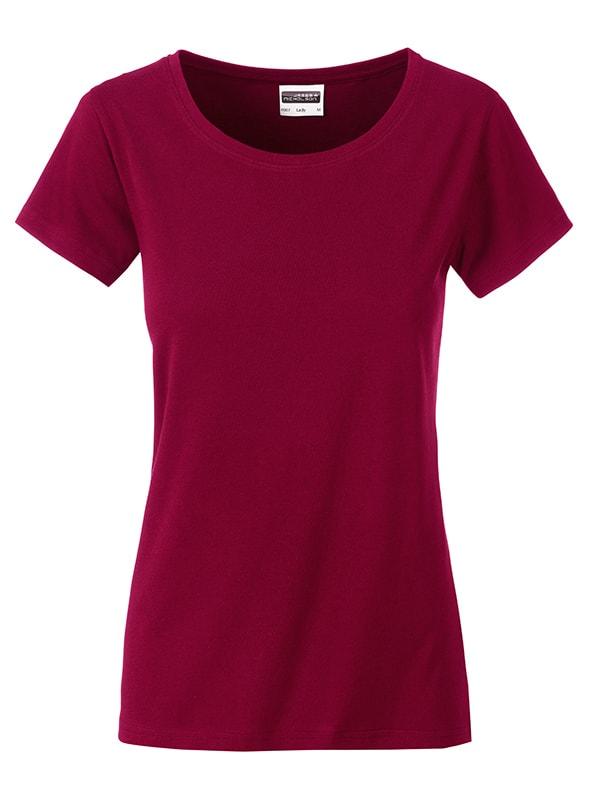 James & Nicholson Klasické dámske tričko z biobavlny 8007 - Vínová | XL