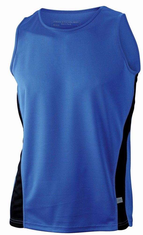 James & Nicholson Pánske športové tričko bez rukávov JN305 - Královská modrá / černá   XXXL